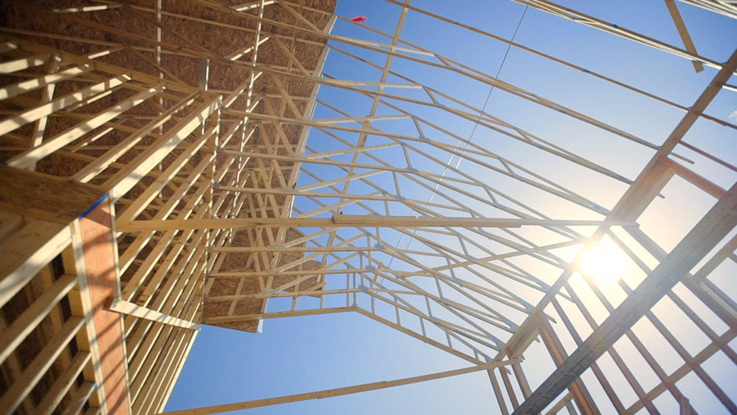 Chase Lumber trusses on a construction site