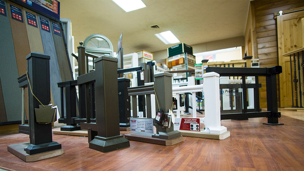 Railing supplies on display at Chase Lumber store